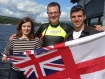 Chris Bowns (centre) with friends and colleagues Laura Bennet and Ed Robbins who supported him during the Loch Lomond swim.